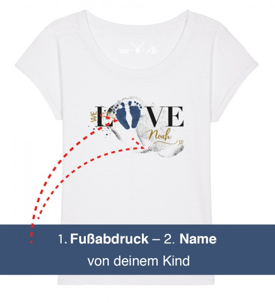 Geburts-Shirt | Fußabdruck & Name deines Kindes | Fair Wear | BIO | Motiv: Love